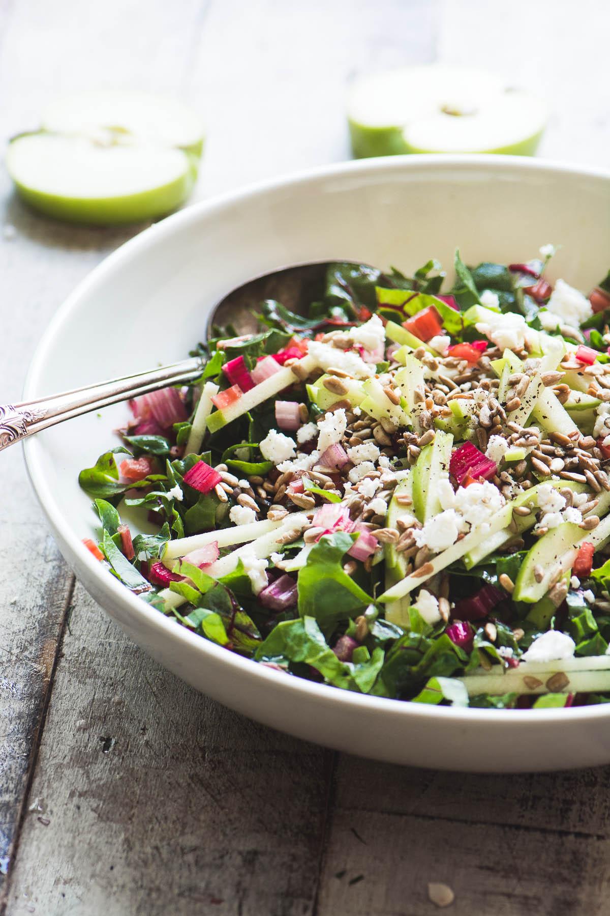 Raw rainbow chard salad