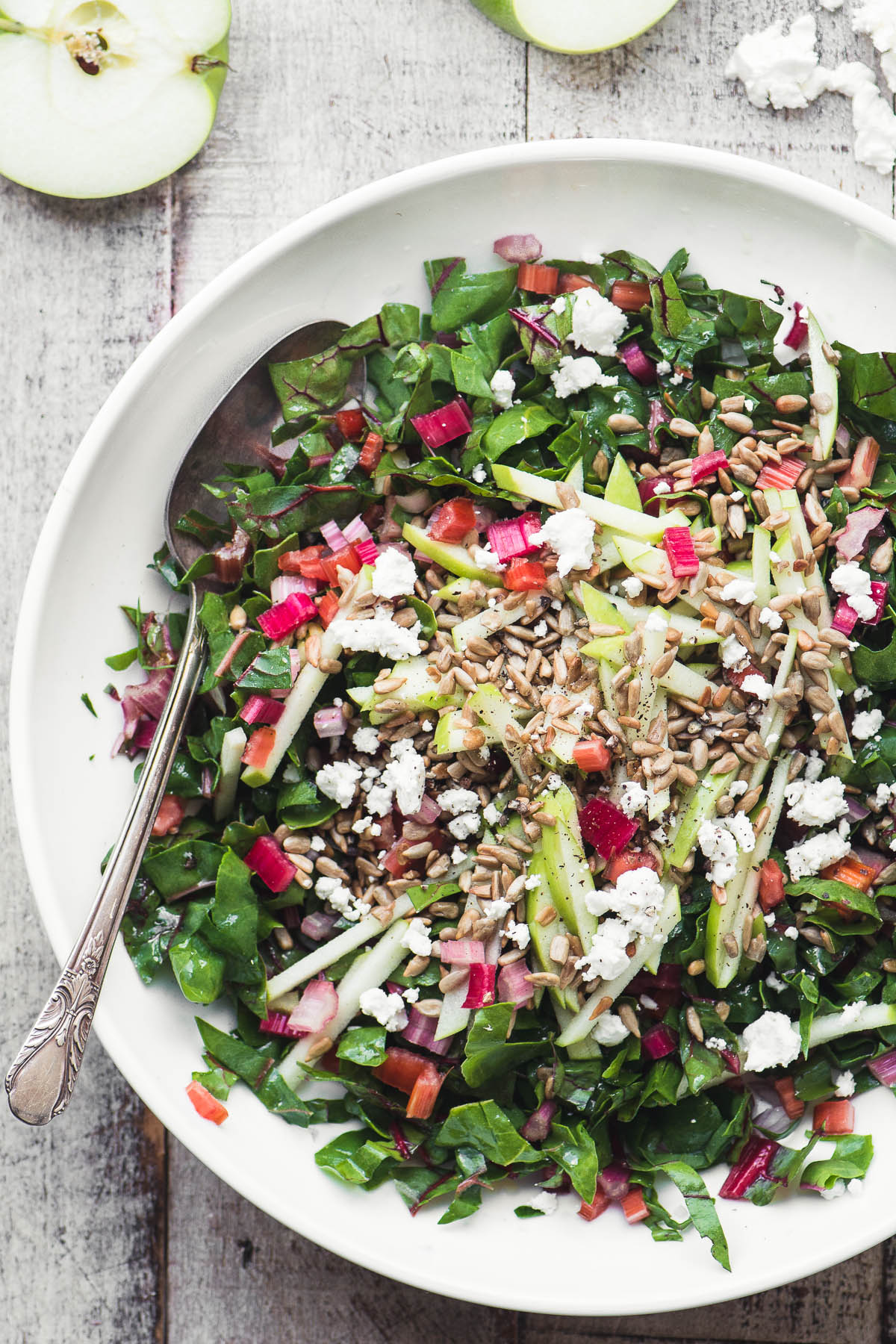 Raw rainbow chard salad