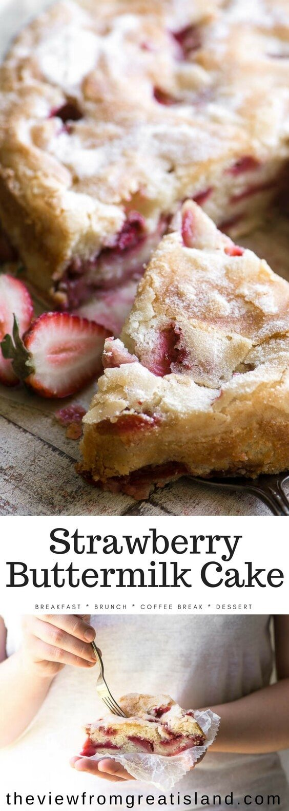 Strawberry Buttermilk Cake is an easy coffee cake loaded with fresh strawberries ~ make it for breakfast, brunch, or dessert. This is the perfect spring breakfast cake. #cake #coffeecake #breakfastcake #strawberries #strawberrycake #brunch #mothersday #easter #springcake