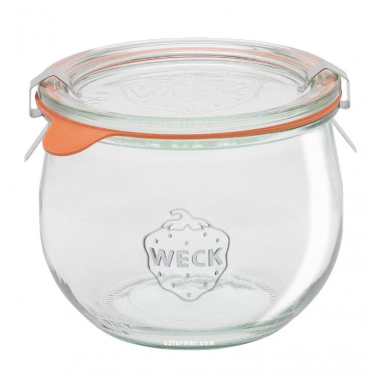 Weck canning jar for basil marinated mozzarella