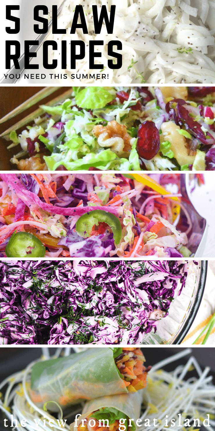 5 Slaw recipes for summer meals ~ #salad #coleslaw #cabbage #sidedish #grilling #barbecue #memorialday #4thofjuly #brusselssprouts #redcabbage #vidaliaonion #slaw #healthy #glutenfree