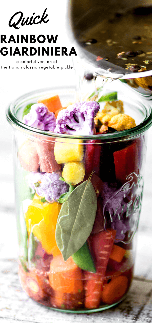 My Quick Rainbow Giardiniera is a colorful riff on the classic Italian relish ~ Enjoy these pickled vegetables as a healthy snack, side dish, or appetizer. #recipe #italian #easy #homemade #smallbatch #pickles #vegetables #homemade #healthy #sidedish #pickle #quick #hot #spicy