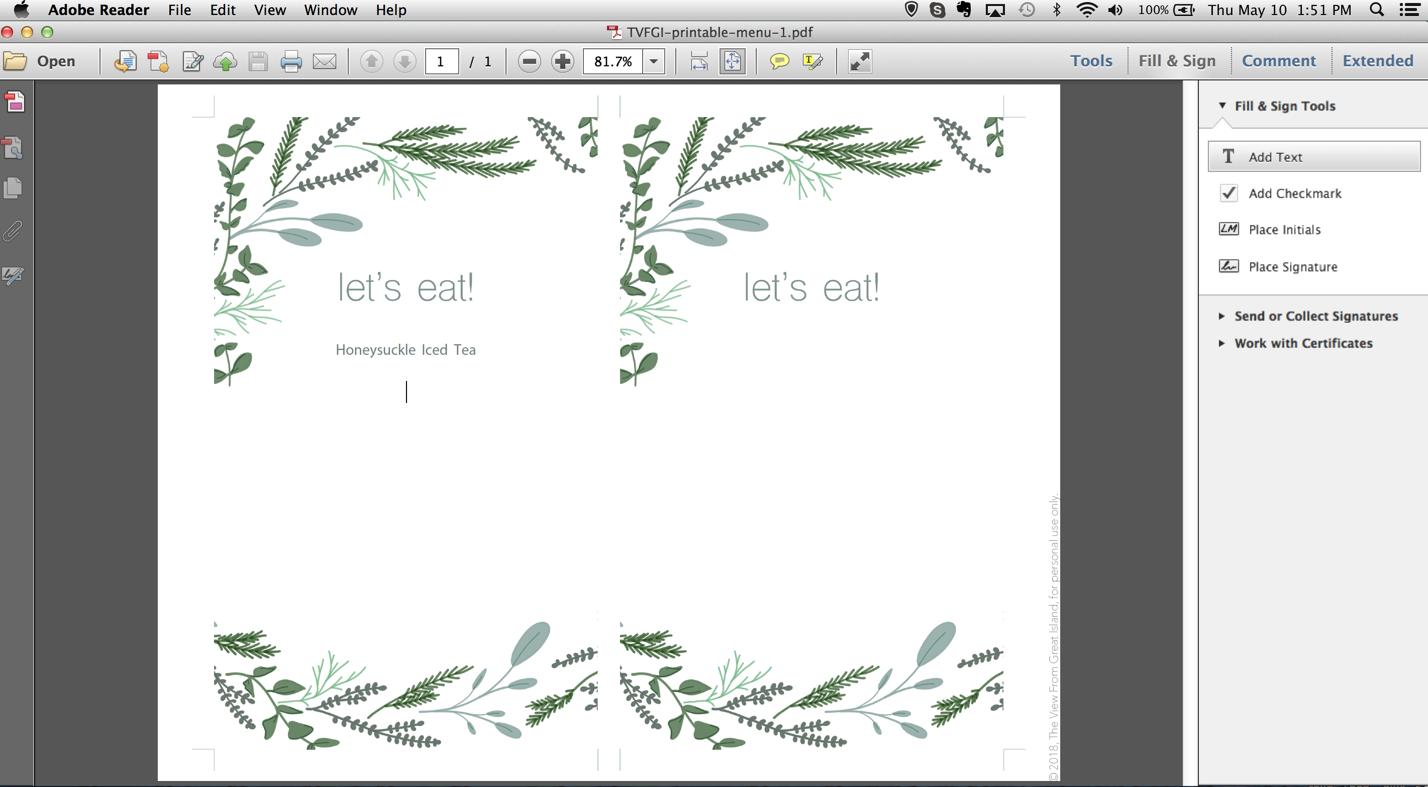 screen shot showing adding text to printable menu