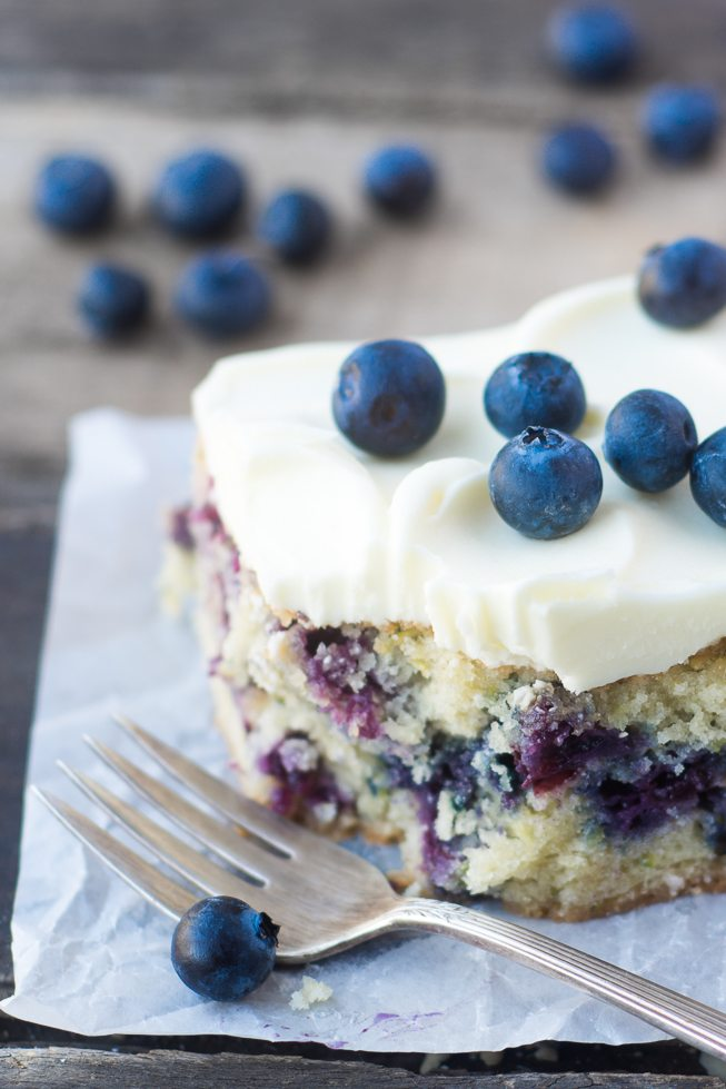 TVFGI's 10 Most Popular Summer Receipes ~ Blueberry Zucchini Snack Cake with Lemon Buttercream