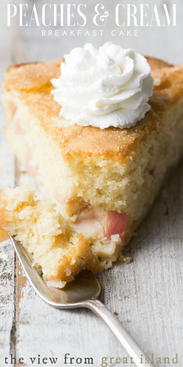pin~ a from scratch peach coffee cake loaded with chunks of fresh fruit for a light but indulgent start to the day. #cake #coffeecake #peaches #peachcake #breakfastcake #brunch #recipe #easycake #easypeachcake #peachdessert #fromscratch #bestpeachcake #fresh #stonefruit #summercake #mothersday #snackcake