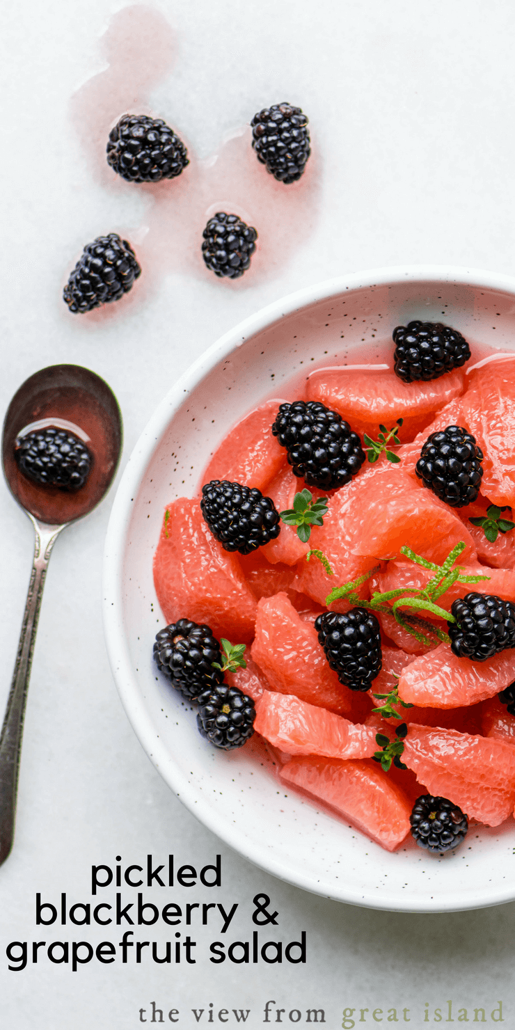 Serve this pickled blackberry and grapefruit salad as a refreshing appetizer, side dish, or over greens for a light lunch. Drizzled it with honey over creamy yogurt for breakfast. #fruitsalad #citrus #grapefruit #pinkgrapefruit #pickledfruit #berries #blackberries #glutenfree #weightwatchers #lowcalorie #appetizer #sidedish #citrussalad #pickling #quickles #refrigeratorpickes #smallbatch