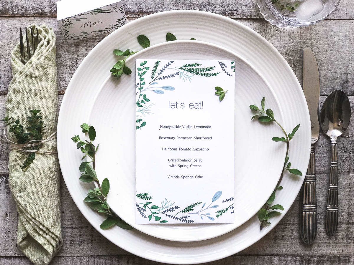 Spring party printable menu and place card