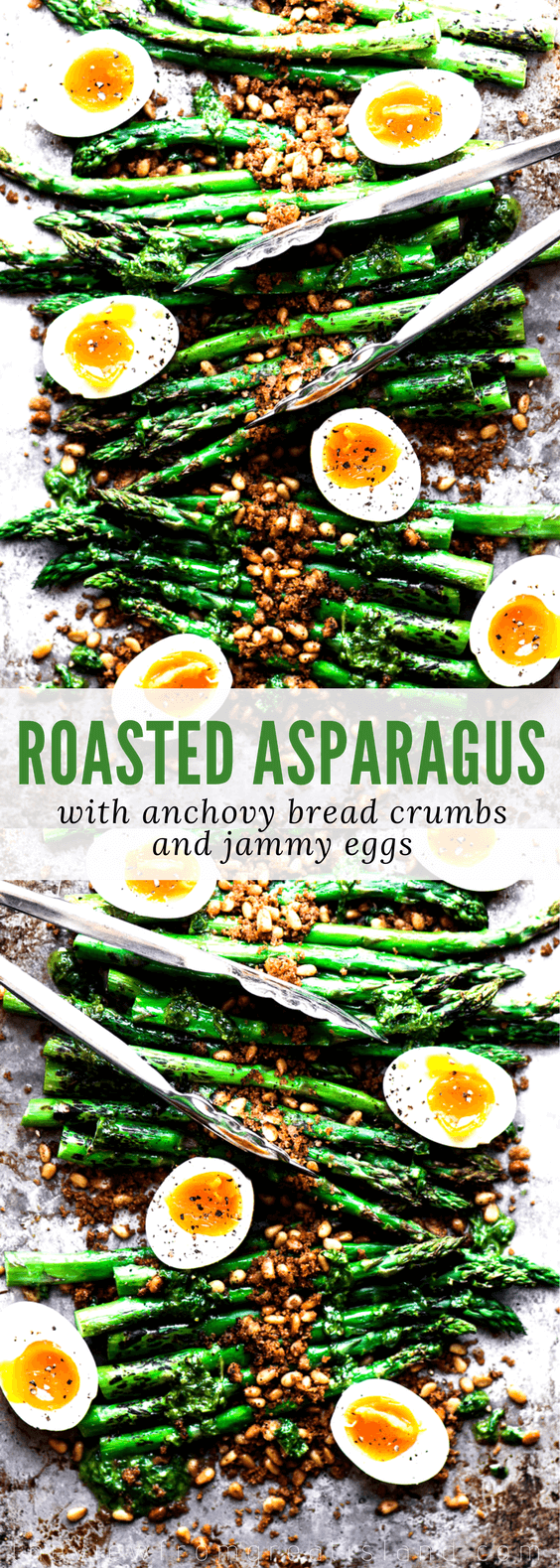 Roasted Asparagus with Crispy Breadcrumbs, Pine Nuts, and Runny Eggs pin