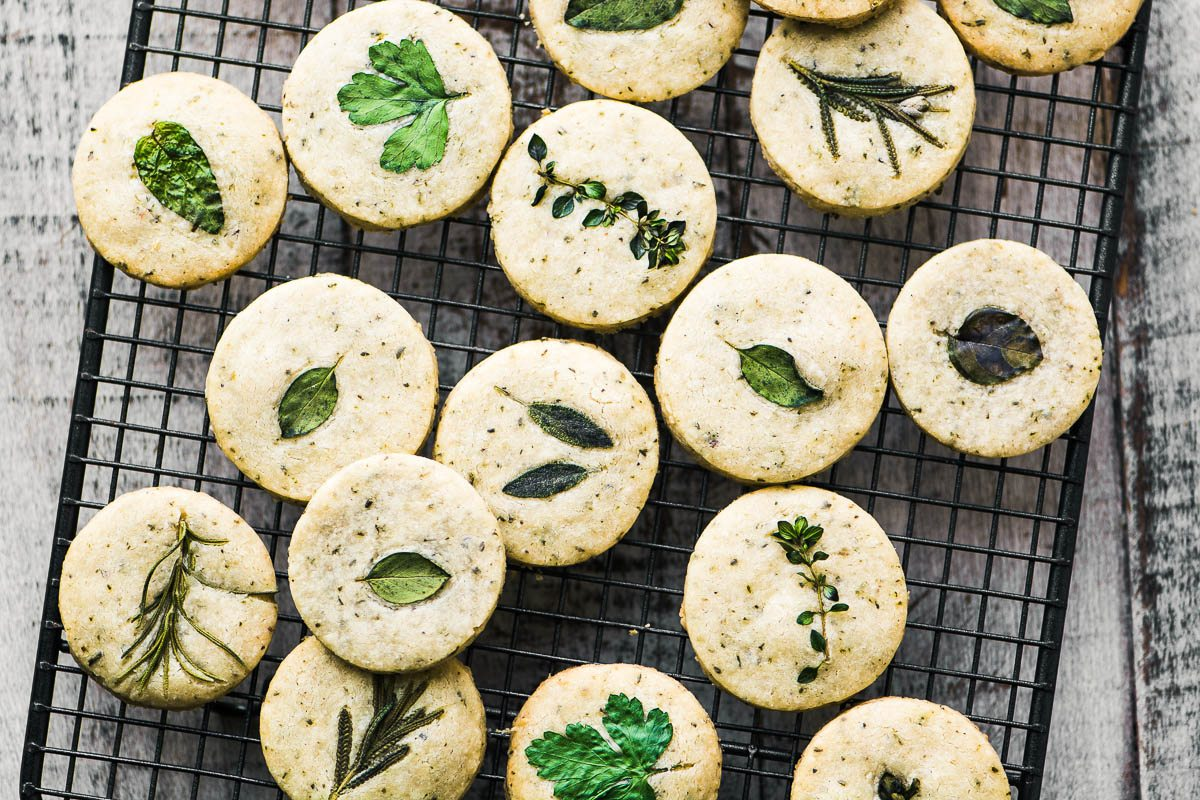 savory herb shortbread  and party printables