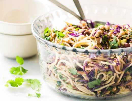 Spicy Thai Spaghetti Salad in glass bowl