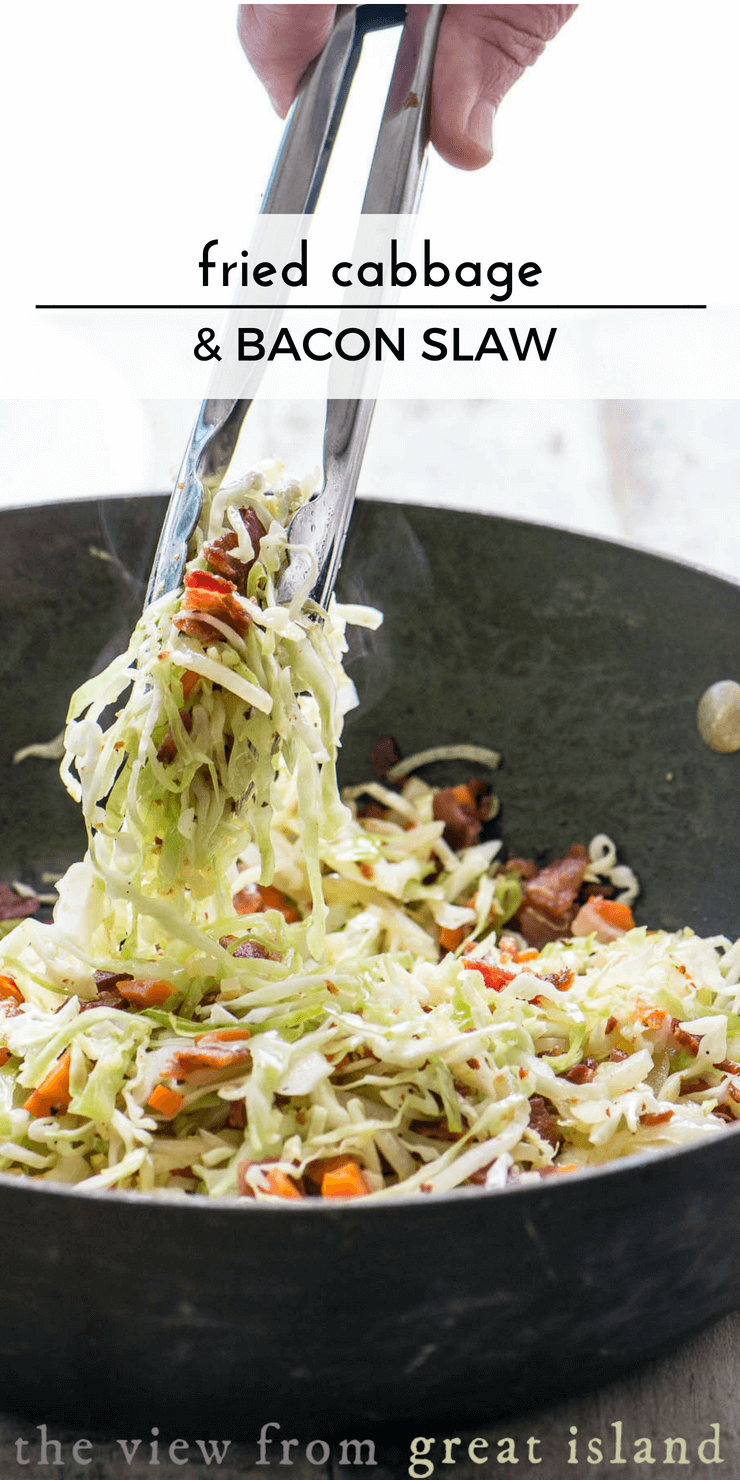 Fried Cabbage and Bacon Slaw ~ the best darned coleslaw of the summer! #salad #bacon #gtilling #sidedish #baconsalad #recipe #easy #fromscratch #cabbage #slaw #baconcoleslaw #fried #warmsalad #potluck #barbecue #picnic #4thofjuly #memorialday #summer
