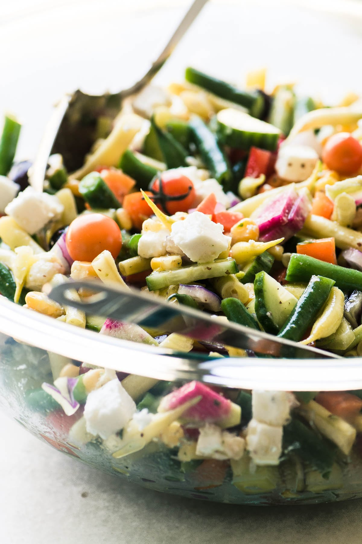 Farmers Market Vegetable Salad in a glass bowl
