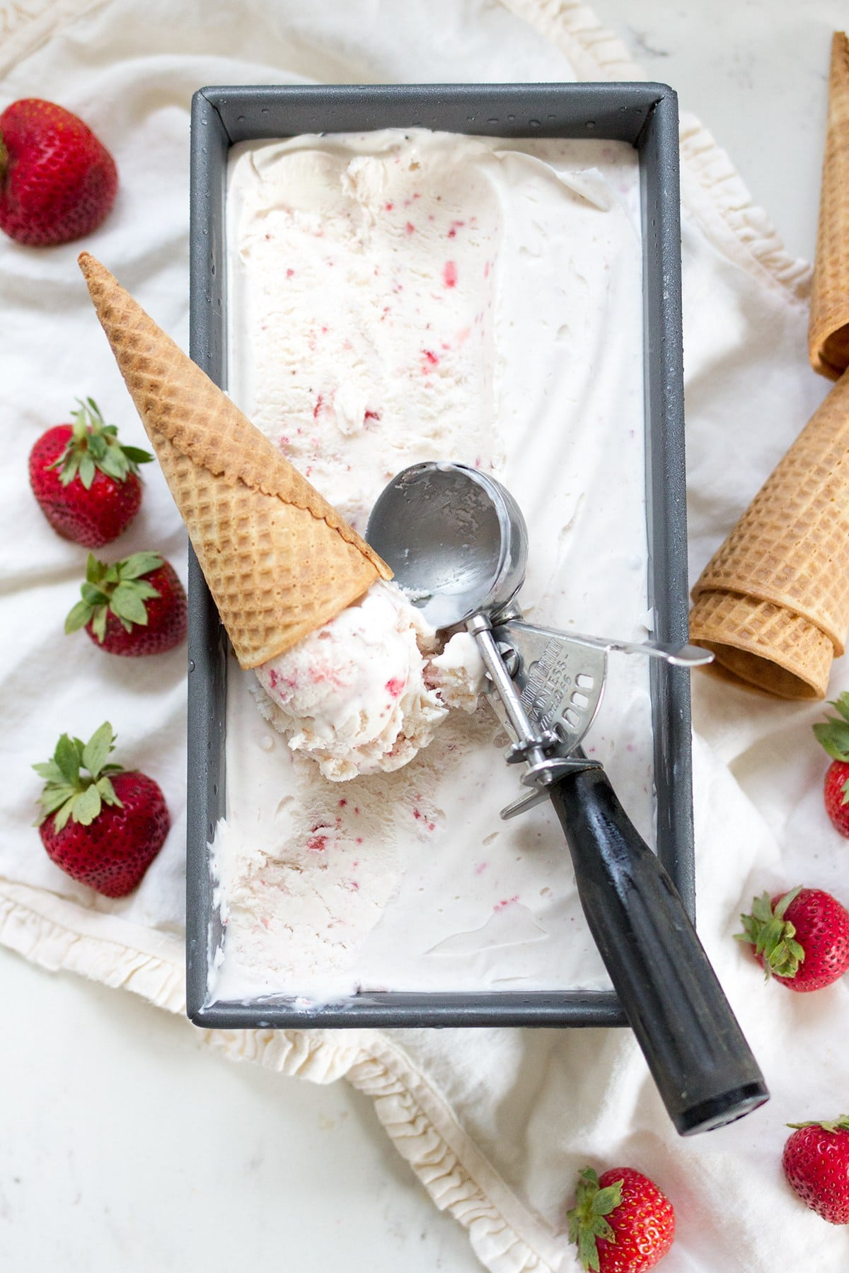 No Churn Strawberry Ice Cream