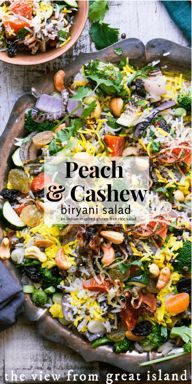 Peach and Cashew Biryani Salad ~ a gluten free rice salad inspired by fabulous Indian pilaf #salad #rice #glutenfree #pilaf #pilau #Indian #biryani #saffron #vegan #vegetarian #sidedish #ricesalad #vegetable #recipe #easy