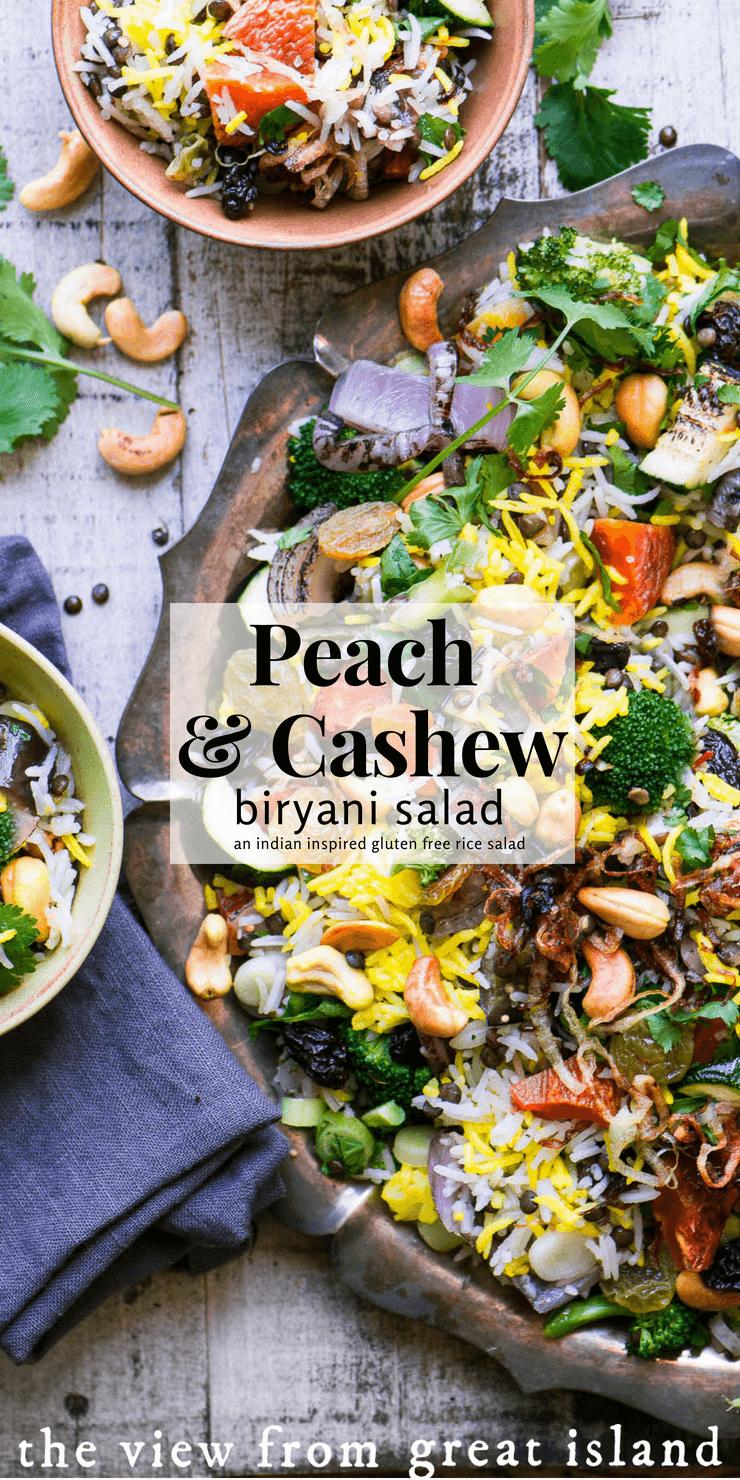 Peach and Cashew Biryani Salad ~ a gluten free rice salad inspired by fabulous Indian pilaf #salad #rice #glutenfree #pilaf #pilau #Indian #biryani #saffron #vegan #vegetarian #sidedish #ricesalad #vegetable #recipe #easy