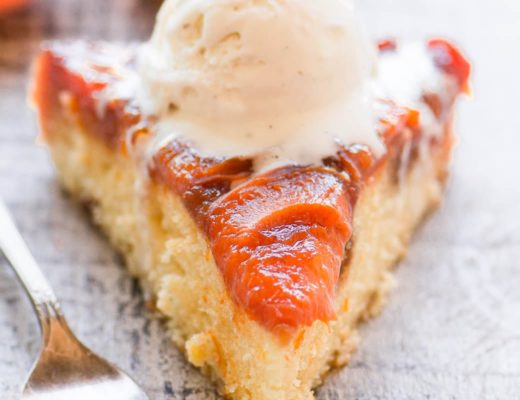 a slice of caramelized apricot upside down cake