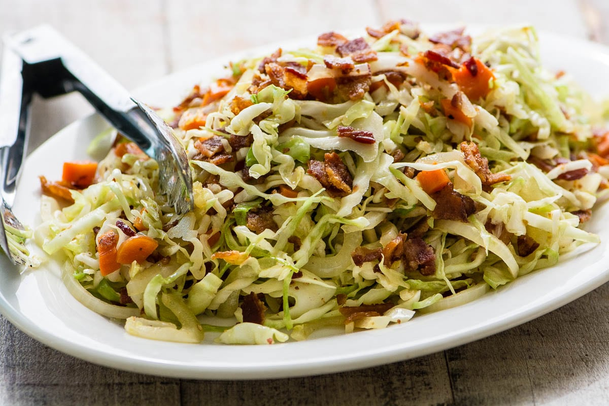Fried Cabbage and Bacon Slaw