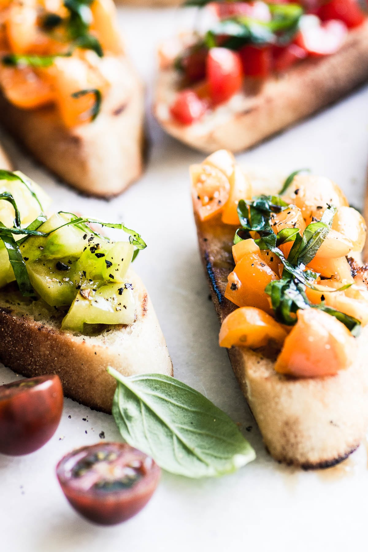 Heirloom Tomato Bruschetta with colorful tomatoes and basil