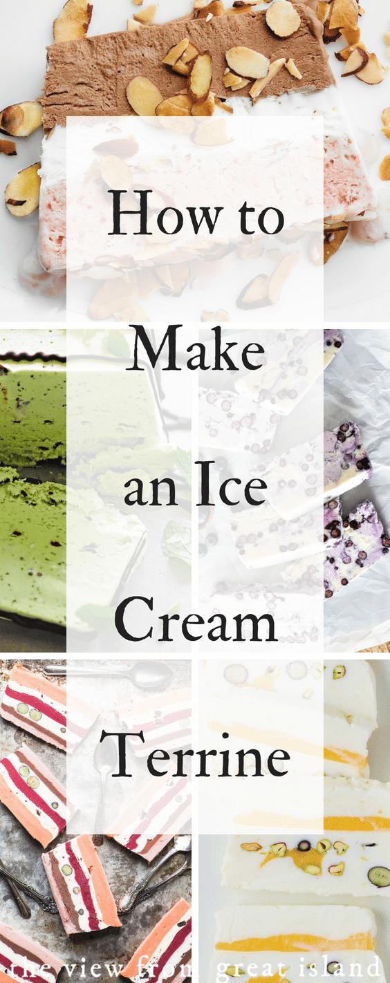 How to make an Ice Cream Terrine ~ layered ice cream desserts are fun and easy to do, create your own customized ice cream cake in a few easy steps! #icecream #icecreamcake #bomb #terrine #striped #frozen #homemade #iceboxcake #semifreddo #frozenyogurt #sorbet #sherbert #nobake #easy