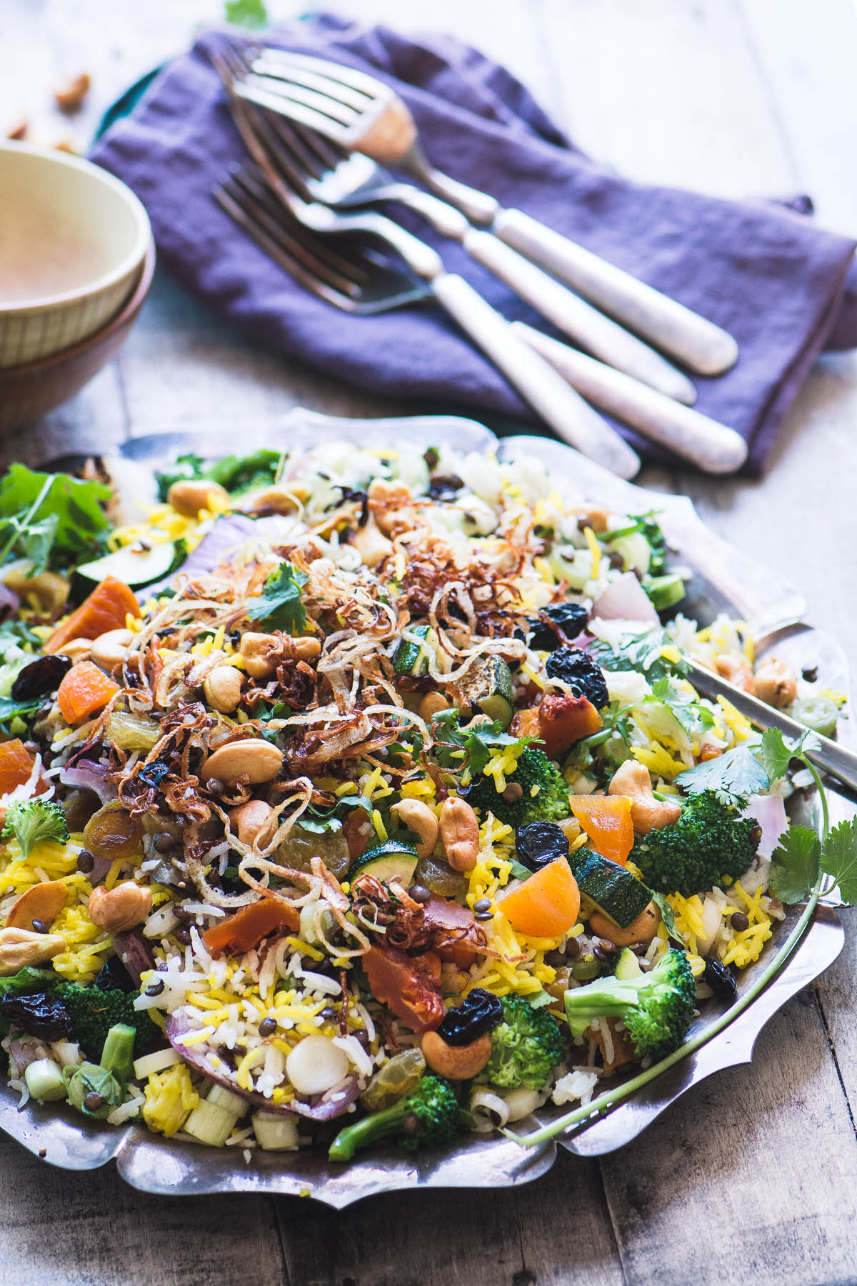 Peach and Cashew Biryani Salad on a metal platter