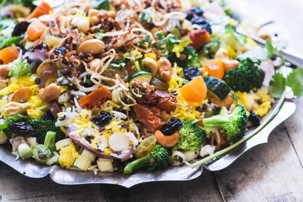 Peach and Cashew Biryani Salad on a metal platter