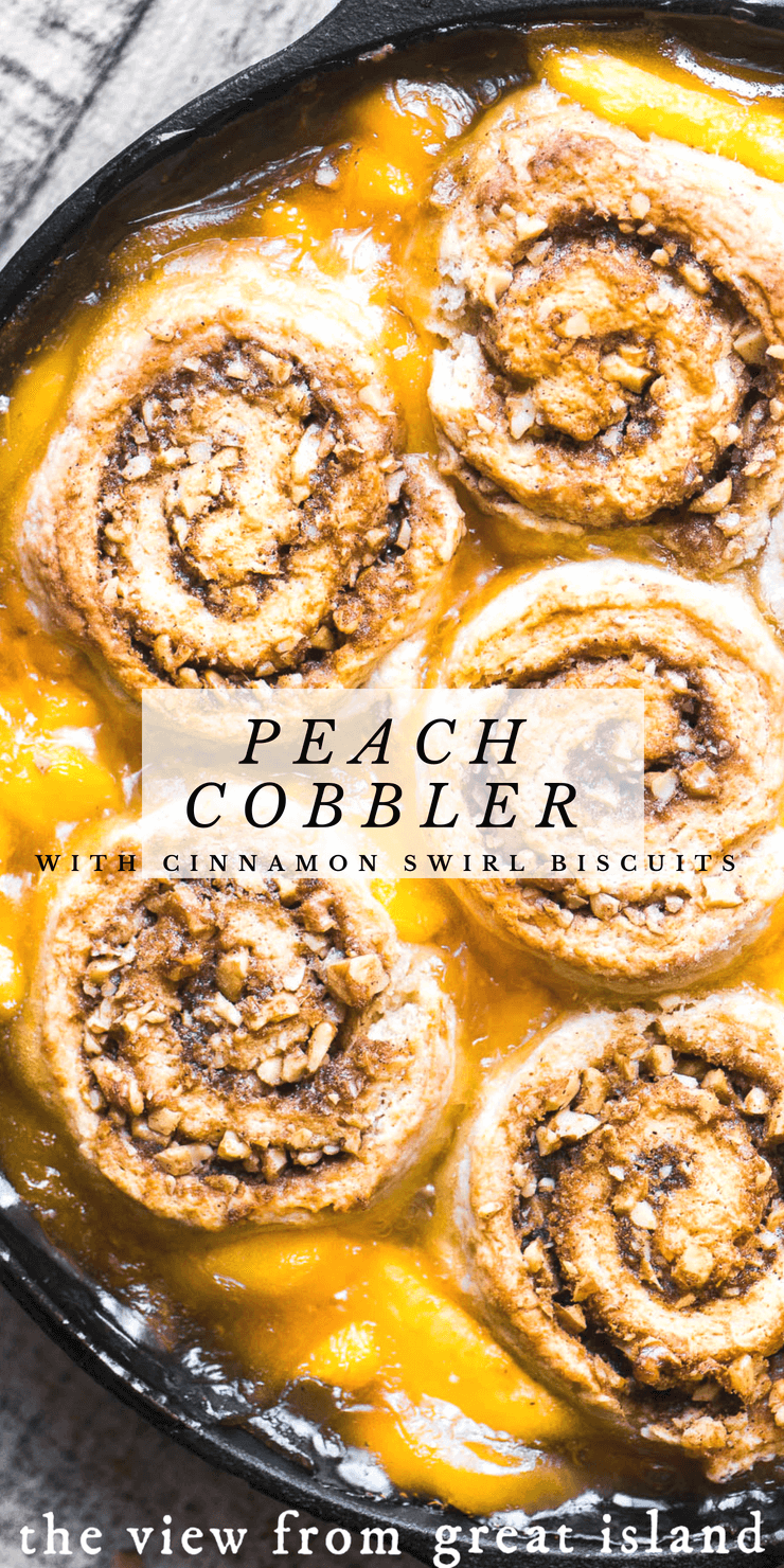 Peach Cobbler with Cinnamon Swirl Biscuits~with lots of ripe peaches topped off with tender homemade biscuits that think they're cinnamon buns...this delicious mashup just works! #cobbler #crisp #peaches #Cinnamonbuns #cinnamonrolls #mashup #dessert #summer #stonefruit #biscuits #Cinnabons #skillet #homemademade #fromscratch #recipe