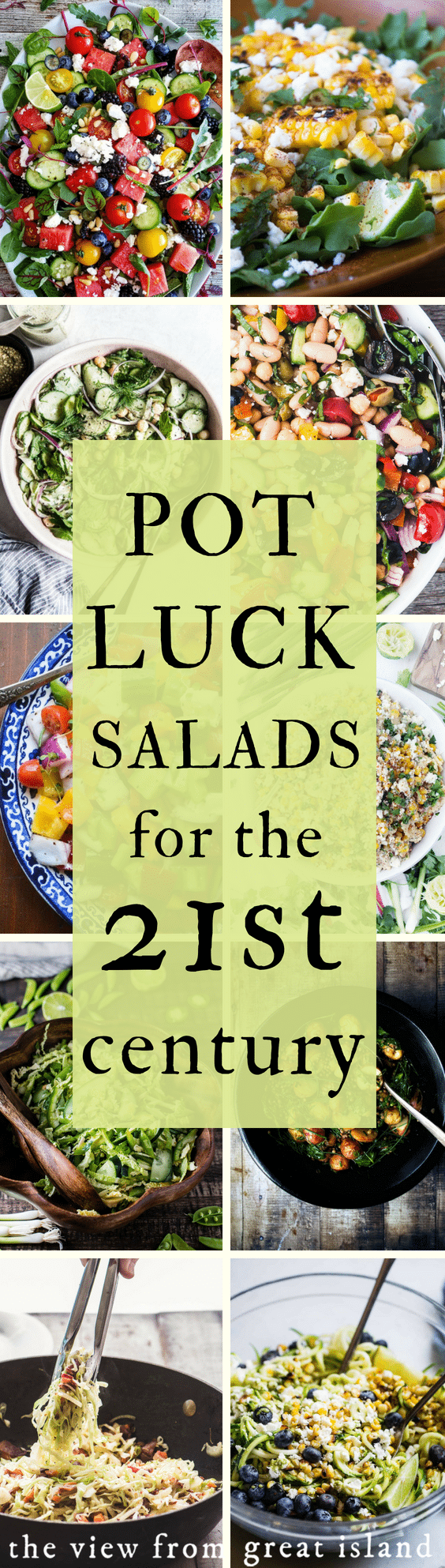 Classic potluck salads revamped for the 21st century ~ everything from macaroni salad to potato salad and beyond, updated and delicious! #picnic #sidedish #barbecue #potluck #easy #best #macaroni #potato #pasta #corn #zoodle #chopped #caprese #threebean #coleslaw #broccoli #fruit #orzo #cucumber #watermelon