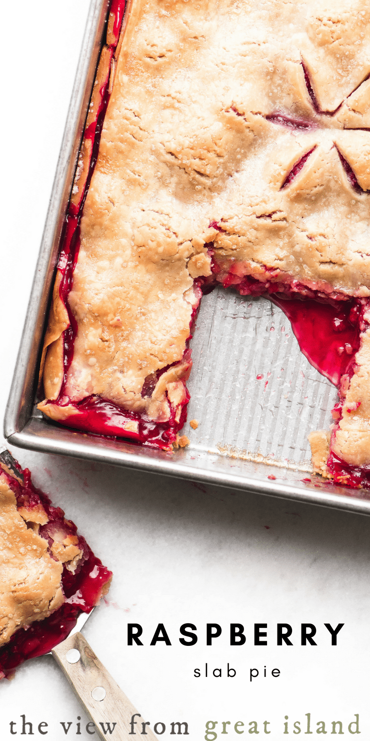 Raspberry Slab Pie is a luxe dessert for berry season ~  I've used refrigerated pie crust to make it quick and easy. #pie #slabpie #raspberry #dessert #easy #filling #fresh #recipe #berries #summer #pastry #sheetpan #berrypie #piecrust #best #homemade