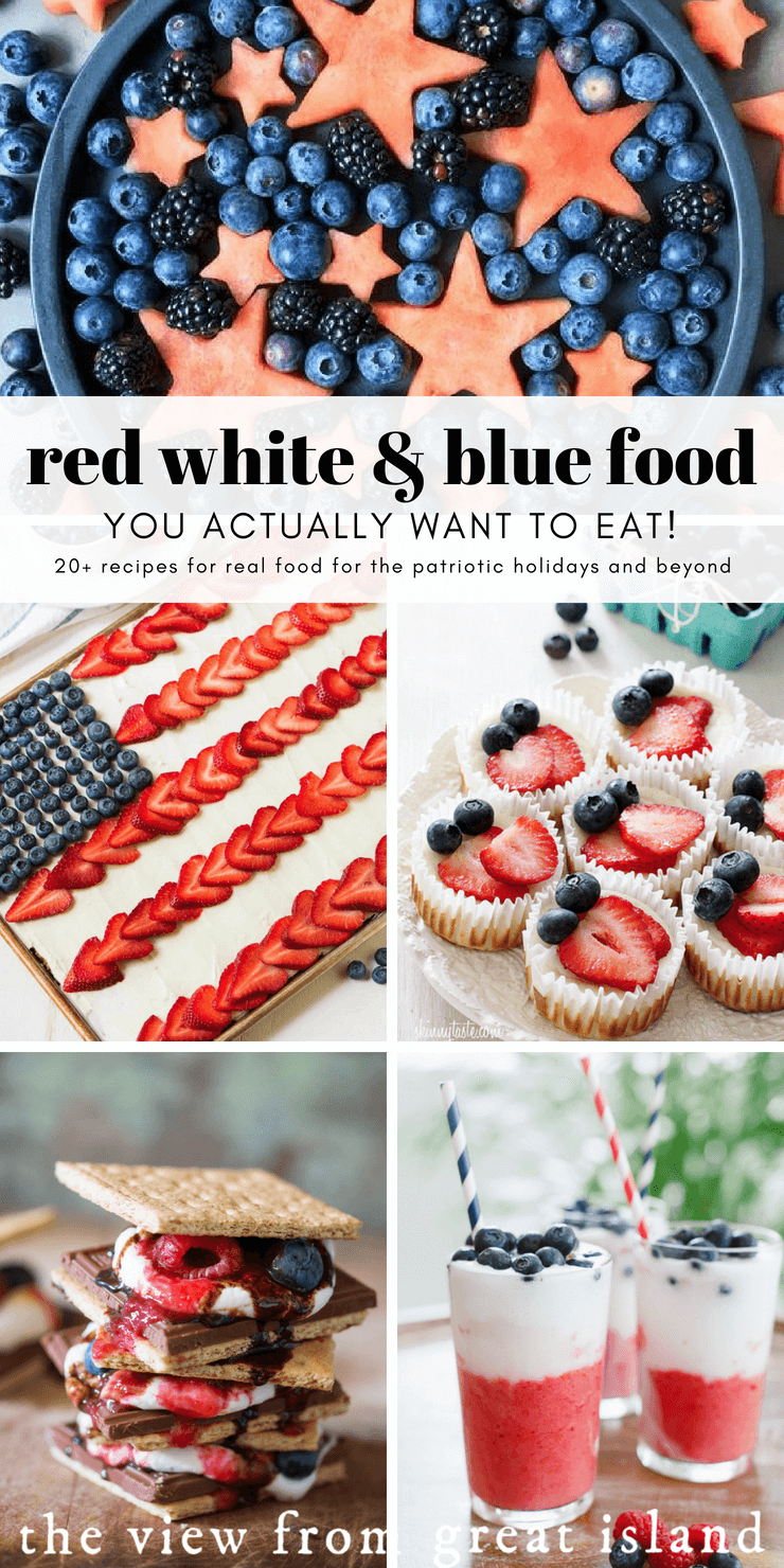 Red White & Blue Food You Actually Want to Eat!  20+ recipes for patriotic food ~ #memorialday #4thofjuly #veteren'sday #flagday #flag #americana #pie #cake #cheesecake #strawberries #blueberries #summer #picnic #barbecue #sheetcake #watermelon #s'mores