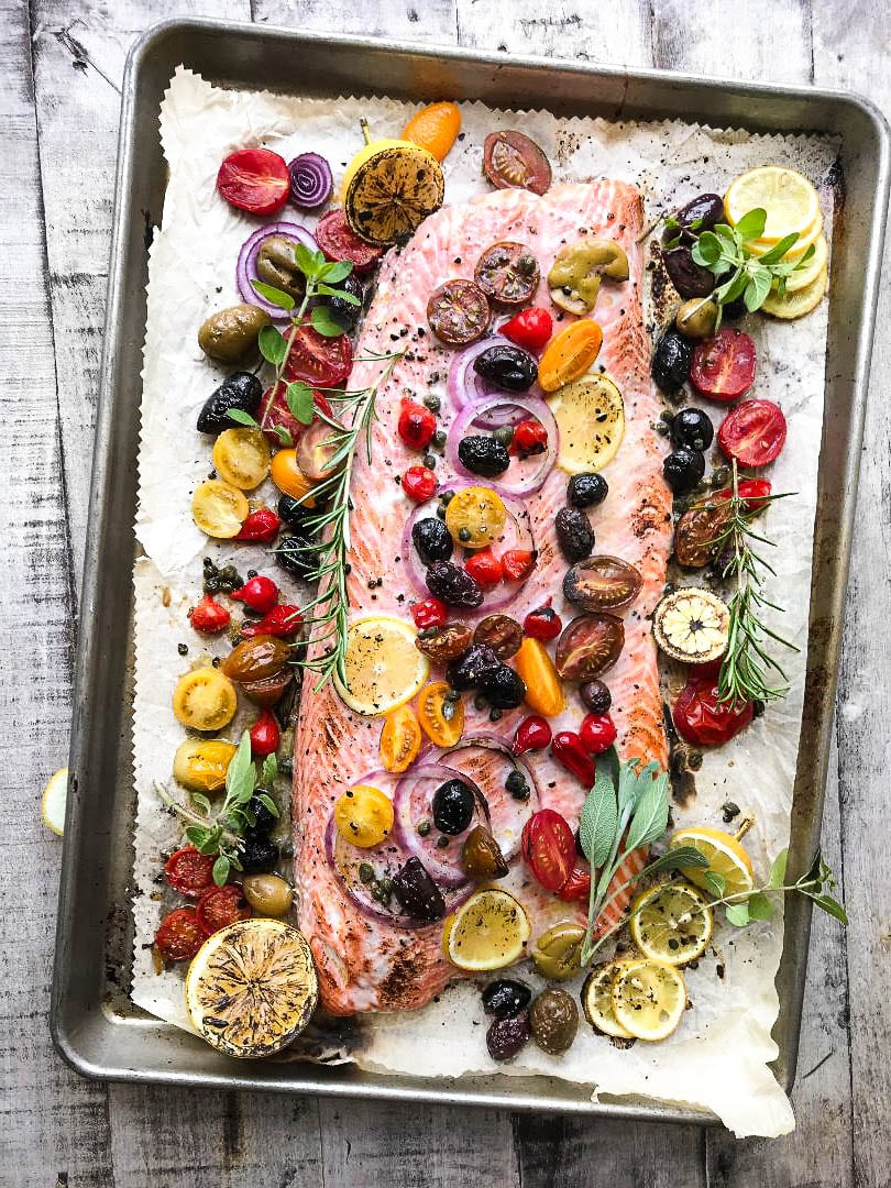Mediterranean Sheet Pan Salmon on a tray