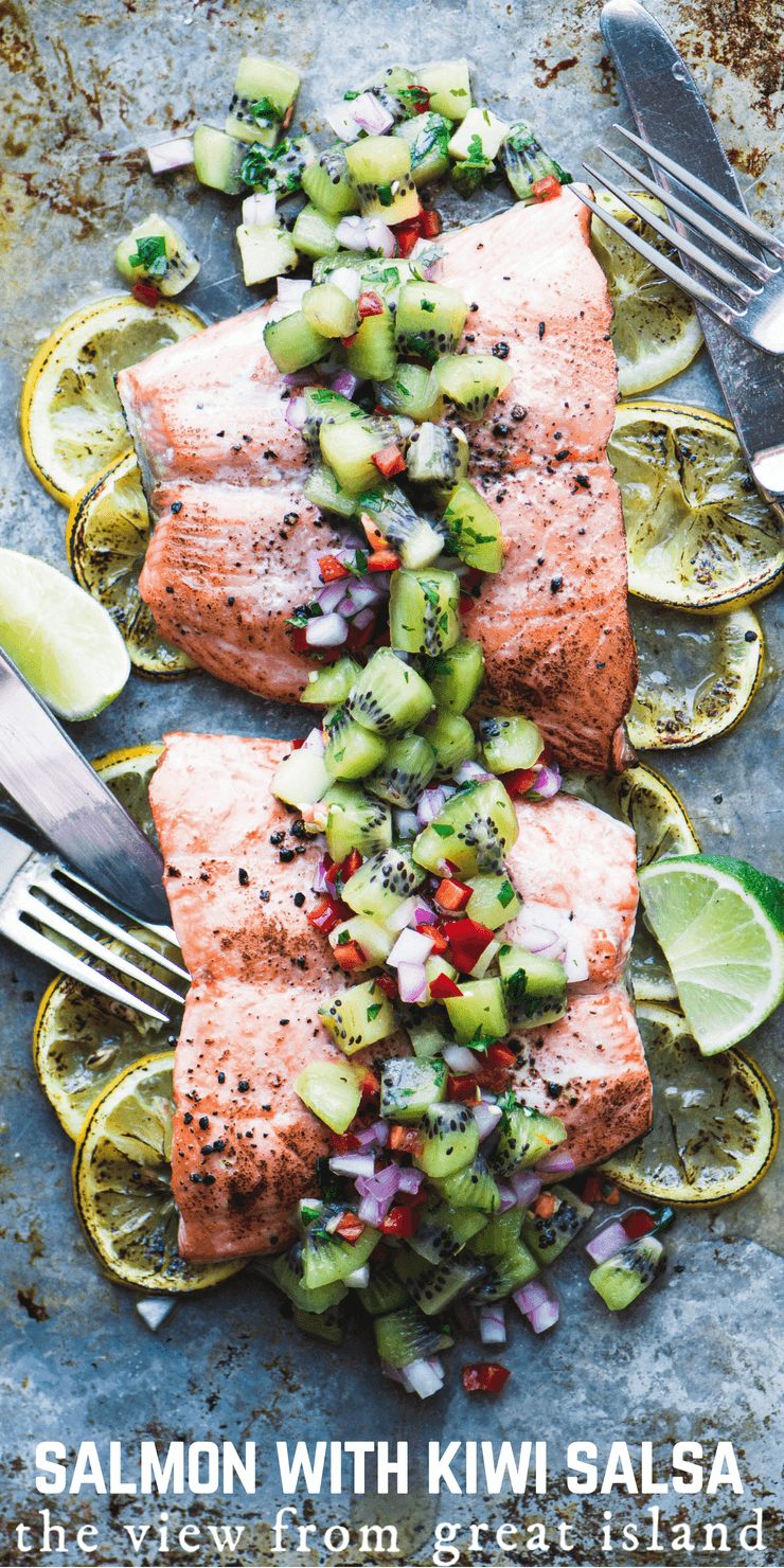 Roasted Salmon with Spicy Kiwi Salsa on a sheetpan