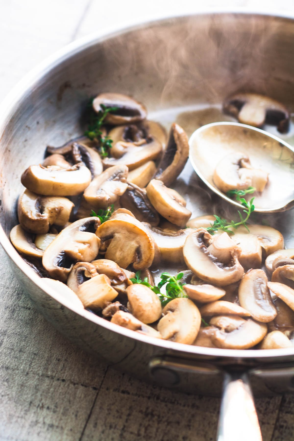 sautéing mushrooms for Instant Pot pork chops with creamy mushroom sauce
