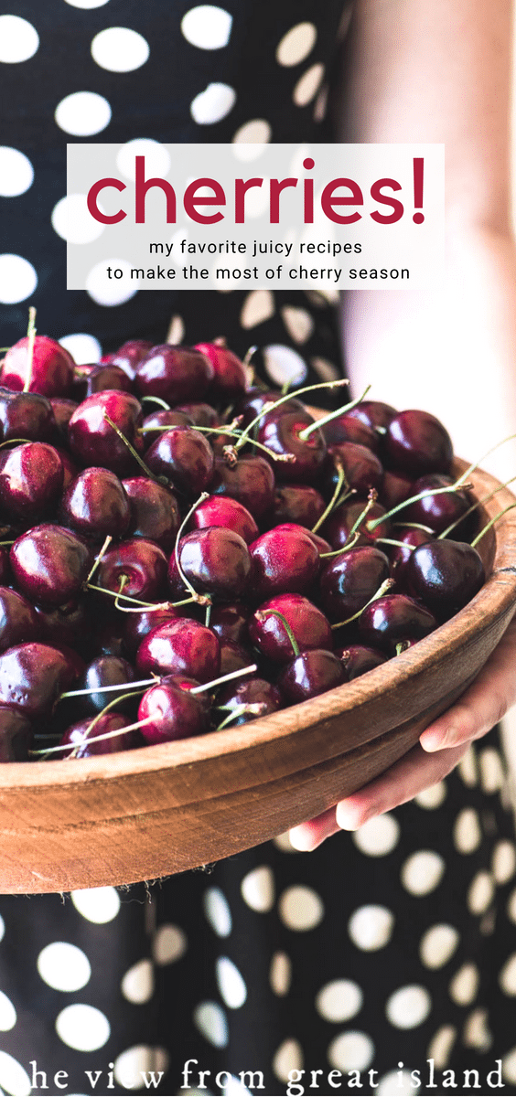 The best fresh cherry recipes for cherry season! #cherries #fruit #summer #icecream #popsicles #cocktails #compote #crumblebars #dessert #gazpacho #smoothie