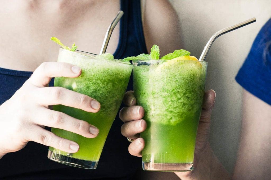 Tso glasses of Frozen Mint Lemonade (Limonana)