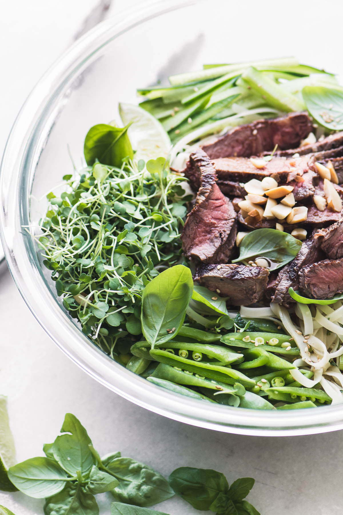 Steak Pad Thai Salad in a glass bowl