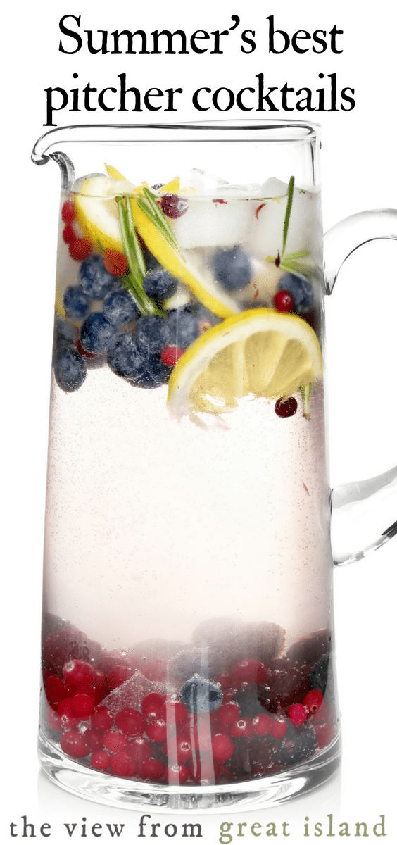 Summer's best pitcher cocktails and mocktails for easy entertaining. #cocktails #mocktails #punch #lemonade #icedtea #party #summer #happyhour #easy #vodka #margarita #tequila #rum #wine #sangria #whiskey #best #gin #simple #party