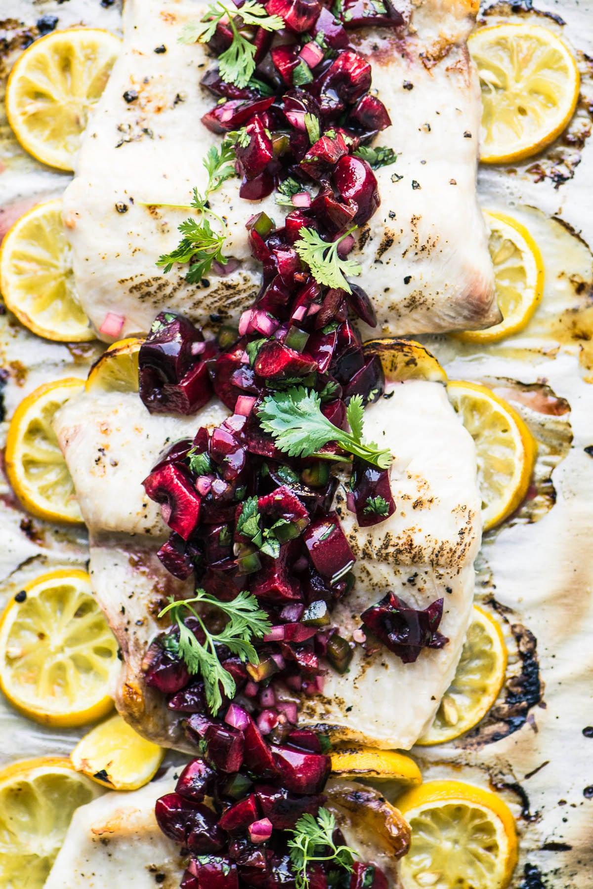 Grilled Whitefish with cherry jalapeño salsa
