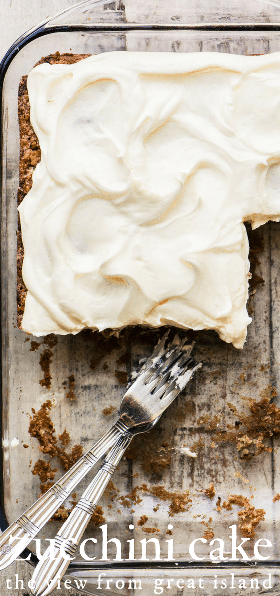 Old fashioned zucchini cake with cream cheese frosting ~ an easy sheet cake that everyone loves. #cake #sheetcake #homemade #easy #fromscratch #withcreamcheesefrosting #dessert #potluck #recipe #creamcheesefrosting #cinnamon #snackcake