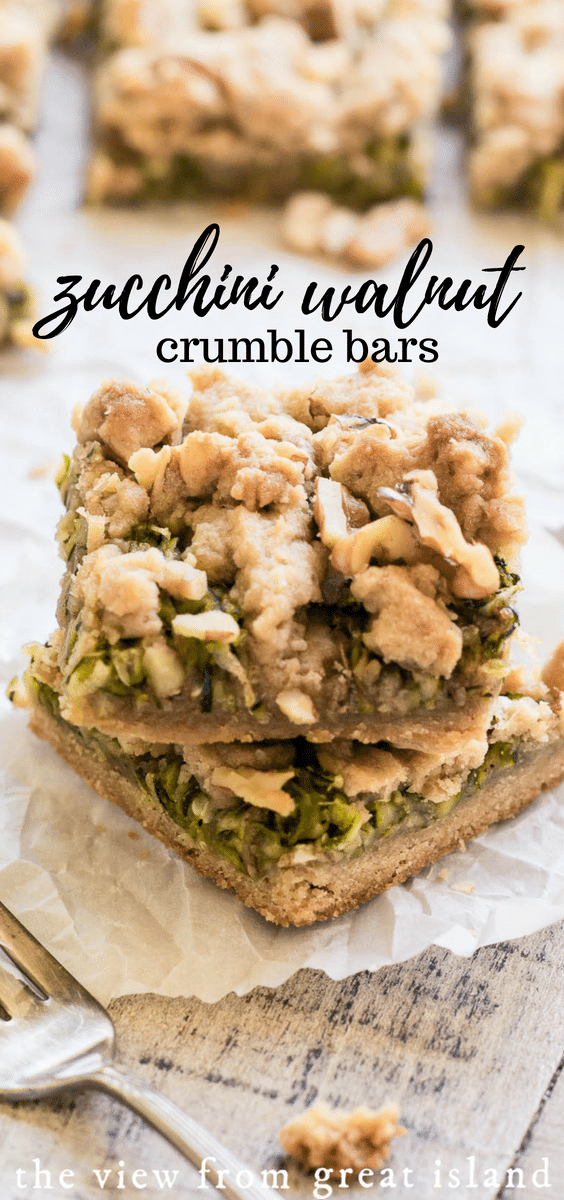Zucchini Walnut Crumble Bars ~ think zucchini bread meets spiced shortbread bar, these easy breakfast bars are a delicious conversation piece! #breakfast #dessert #zucchinibread #zucchini #shortbread #crumble #walnut #homemade #easy #recipe #brunch #fromscratch #best #baking #healthy