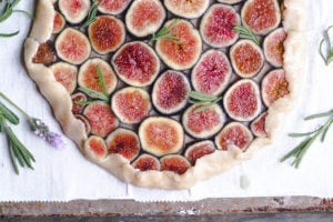 fig tart with lavender honey ready to bake