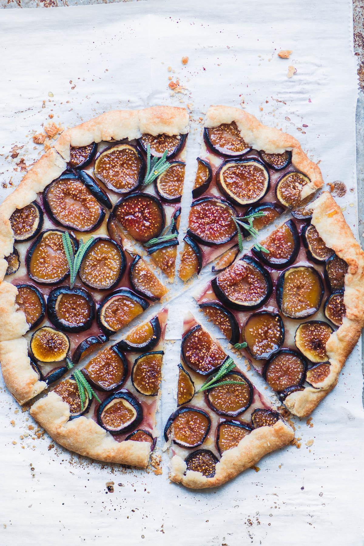 a fresh fig tart with lavender honey, sliced