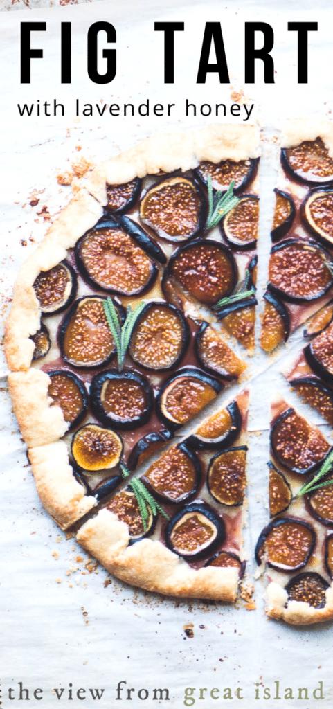 Fig Tart with Lavender Honey ~ spooning honey over the tart