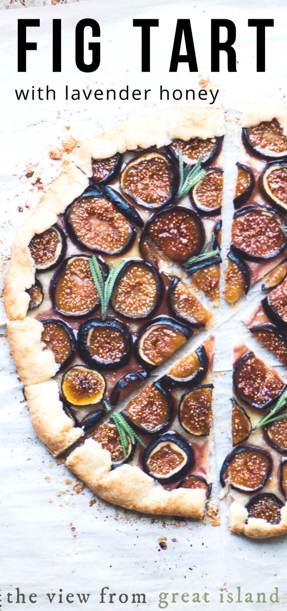 Fresh Fig Tart with Lavender Honey ~ this crisp galette with a jammy fig filling can go anywhere from breakfast and brunch to dessert. The homemade lavender honey is worth the price of admission. #easy #homemade #missionfigs #figs #tart #french #brunch #recipe #rustic #lavender #honey #infused #galette #dessert #savory #goatcheese #pastry