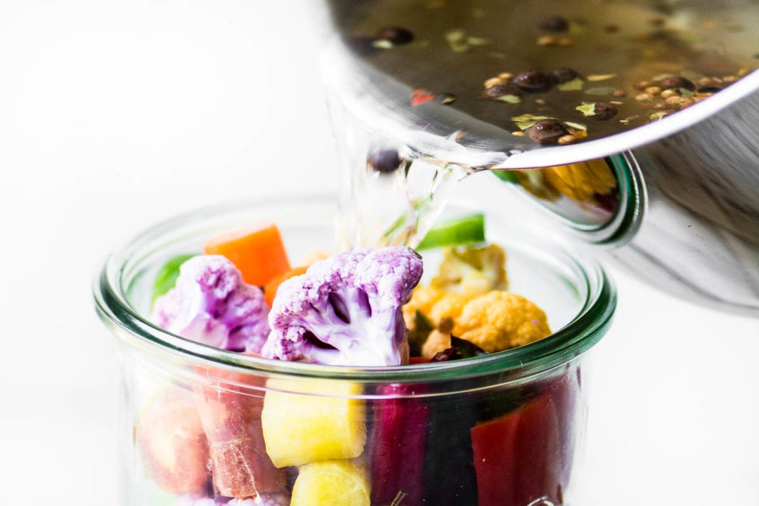 making quick rainbow giardiniera vegetable pickle