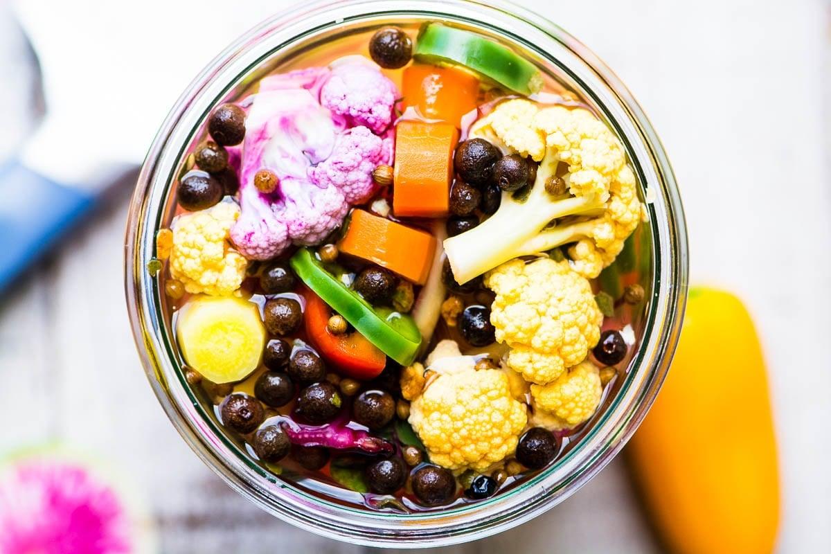 A jar of quick pickled giardiniera
