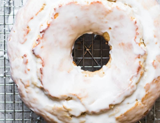 buttermilk doughnut cake on rack