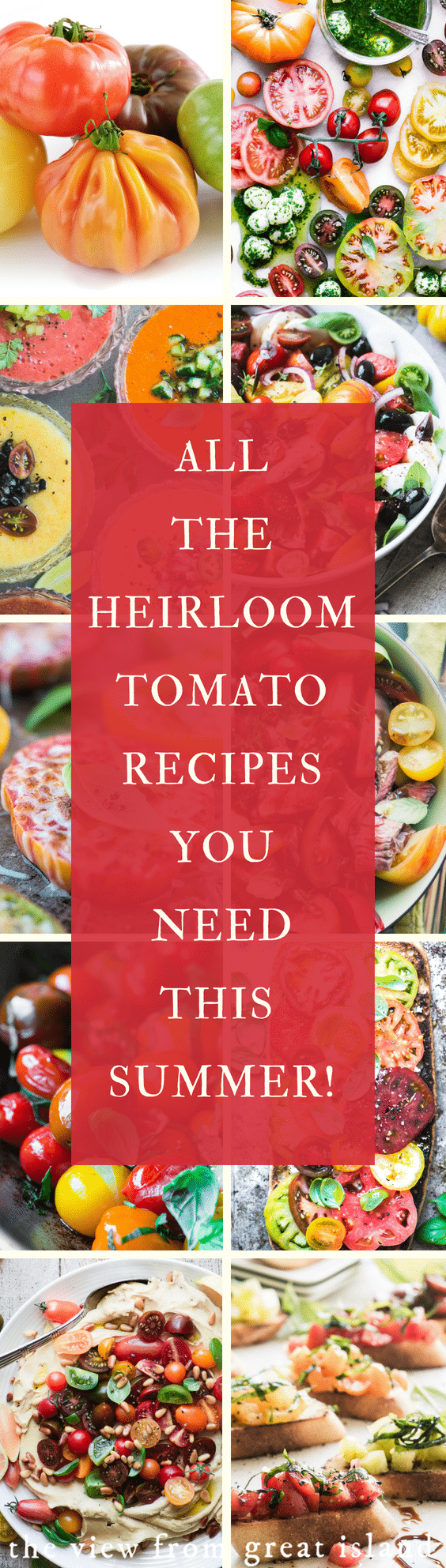 Heirloom Tomatoes ~ everything you need to know about how to find and use these gorgeous tomatoes, plus lots of recipes to get you started. #tomatoes #healthy #heirloom #salad #soup #gazpacho #bruschetta #grilled #sauce #crostini #toast #pasta