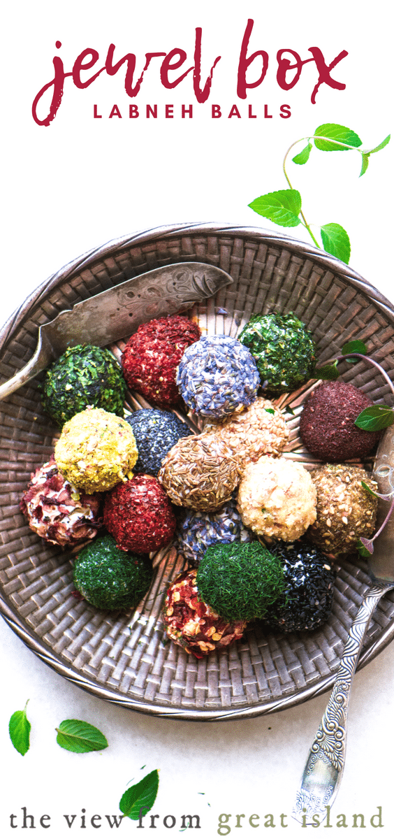 Jewel Box Labneh Balls ~ these little gems are made with homemade yogurt cheese rolled in colorful herbs and spices. Serve as an appetizer with bread, or as a colorful garnish on salads. #labneh #cheese #recipe #healthy #appetizer #yogurt #glutenfree #Syrian #MiddleEastern