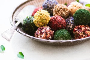 A bowl of colorful Jewel Box Labneh Balls