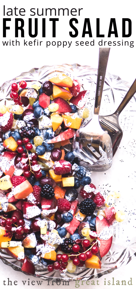 Late Summer Fruit Salad with Kefir Poppy Seed Dressing ~ a healthy and delicious mixed fruit salad that goes from breakfast to dessert ~ can be vegan too! #recipe #easy #healthy #forparty #dressing #fresh #summer #ambrosia #foracrowd #brunch #dessert #vegan #kefir #probiotics #yogurt #poppyseeds #berries #melon #plums #peaches #currants #grapes